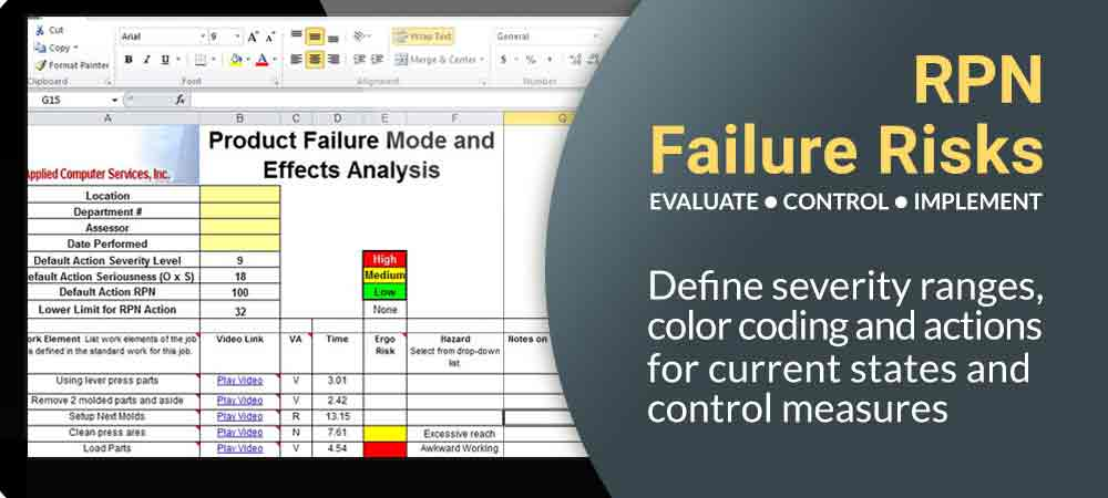 PFMEA, Process Failure Mode and Effects Analysis, Anticipate and Prevent Issues, RPN calculations, user defined severity ranges, customized PFMEA, output in Excel, automated revision control, DFMEA, Design Failure Mode and Effects Analysis