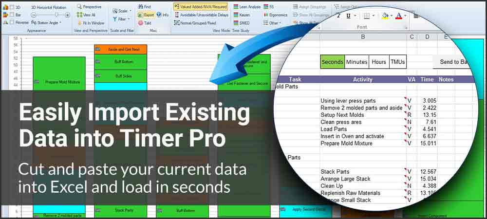 Your Existing Excel Data, import to Timer Pro, import your data via excel, cut and paste your existing data, use your existing production data